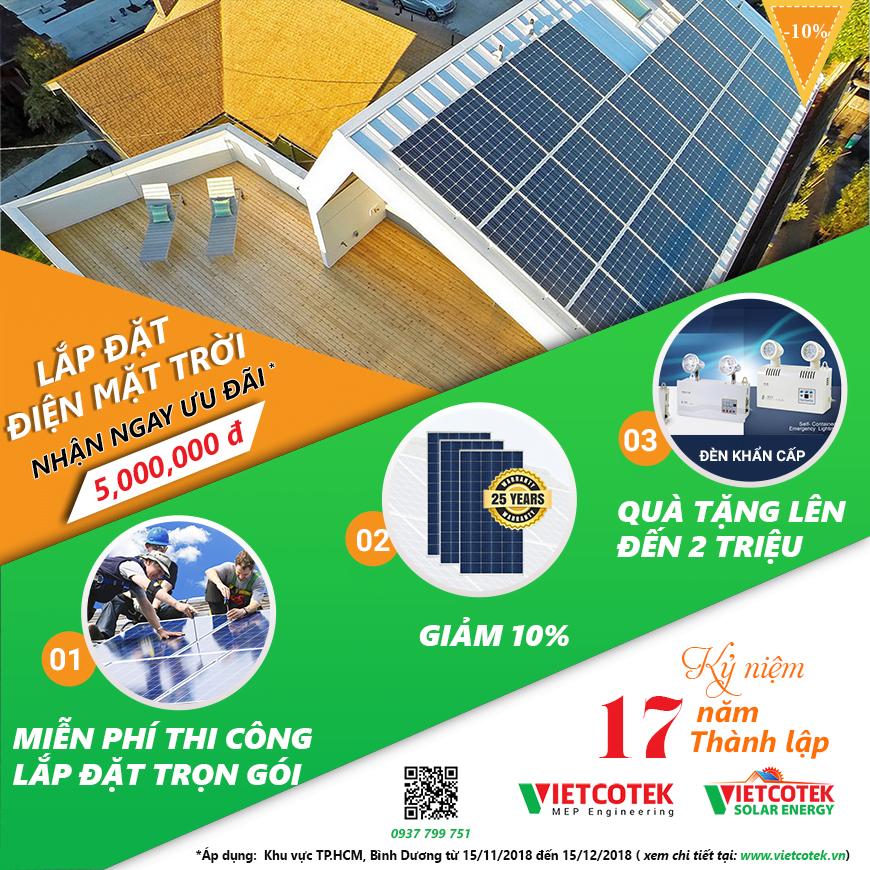 Lắp đặt điện mặt trời với giá ưu đãi lên đến 5 triệu