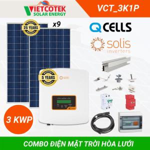 Combo điện mặt trời hòa lưới 3KWP 1 Pha