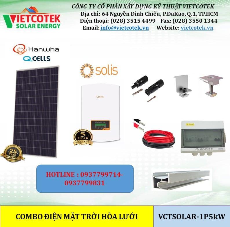 trọn bộ vật tư điện năng lượng mặt trời hòa lưới 5kw